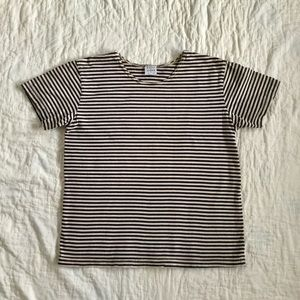 Marc & Ware M Blue and Tan Striped Top Made in USA